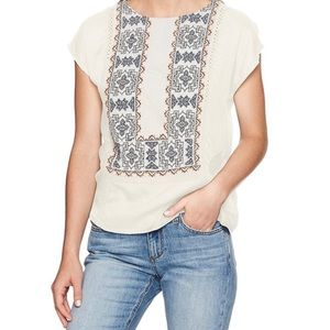 Lucky Brand White Embroidered Mix-Media Top Sz M
